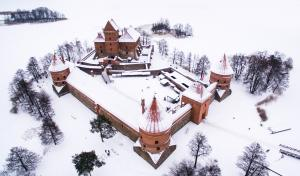 Lithuanian castle in winter from above